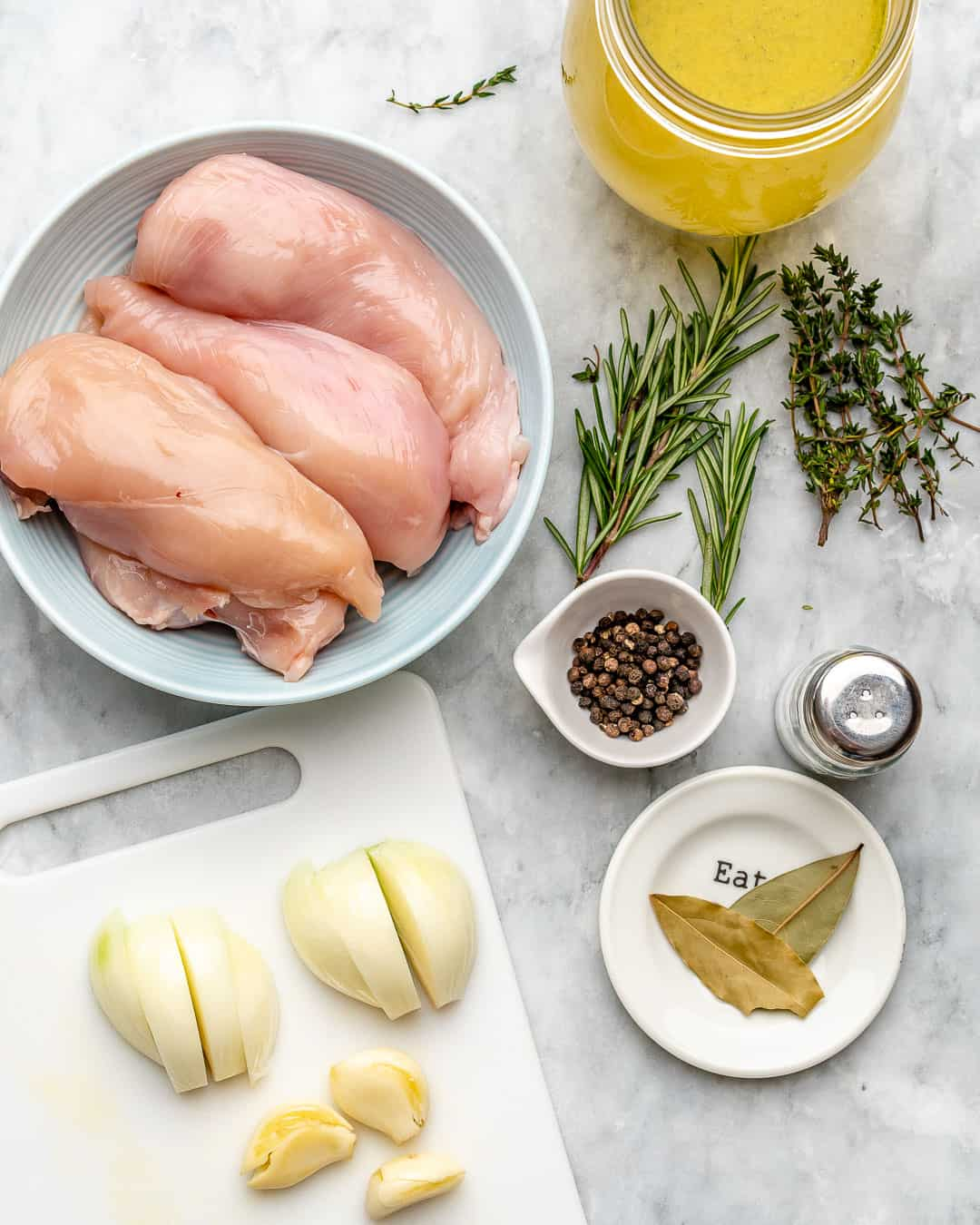 Ingredients for how to poach chicken