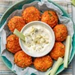 Buffalo chicken meatballs with blue cheese dipping sauce