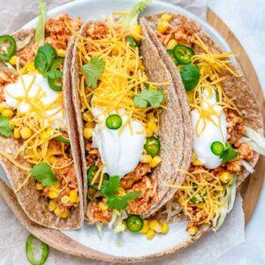buffalo chicken tacos on plate