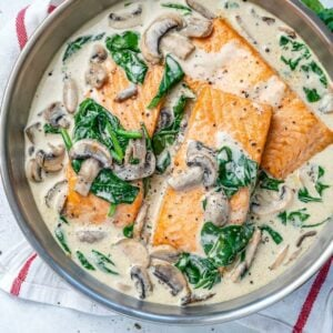 Salmon florentine recipe with spinach and mushrooms
