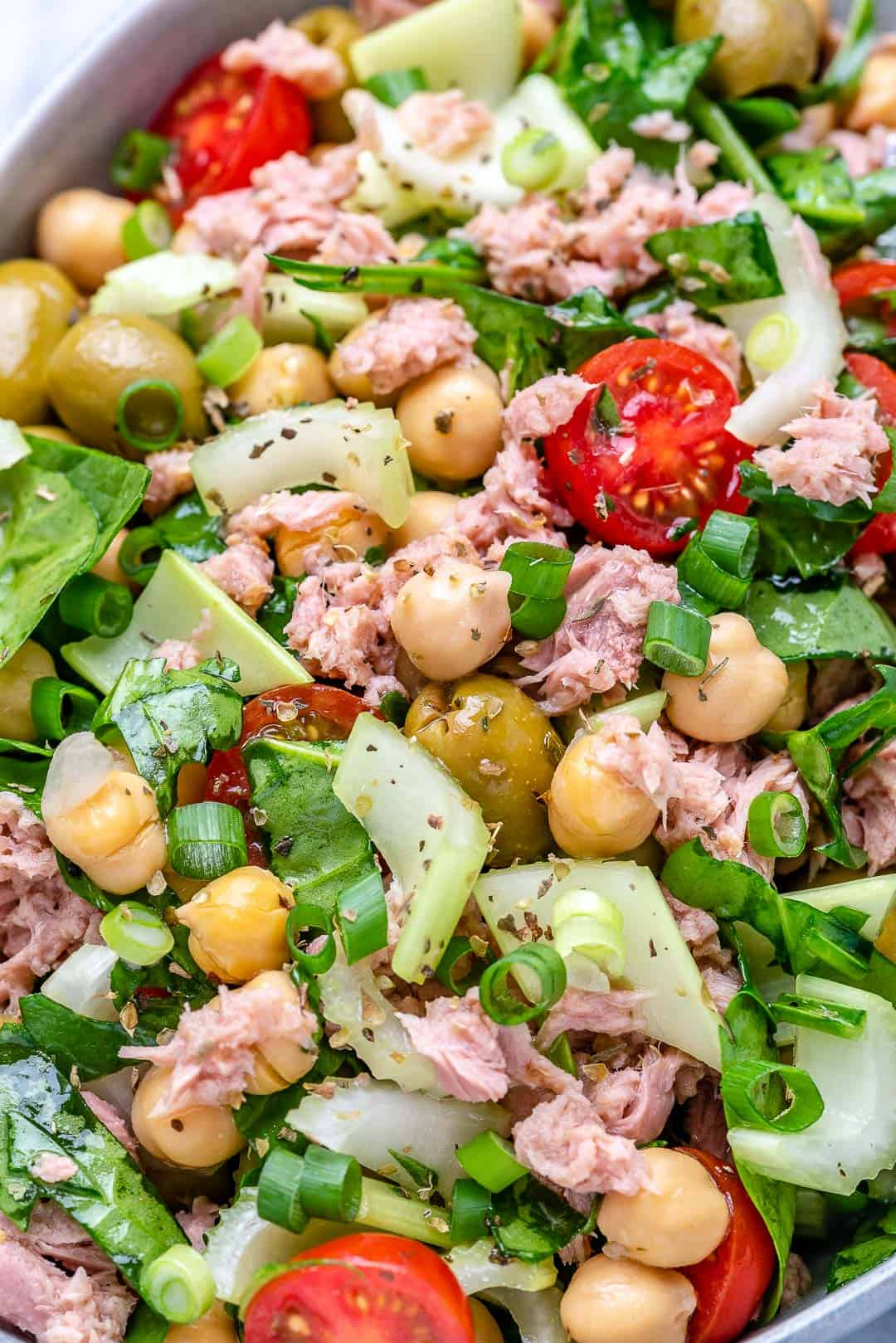easy tuna salad recipe with celery, olives, tomatoes