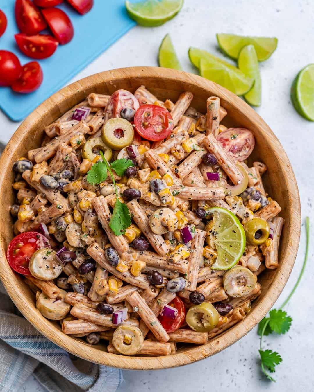 vegetarian pasta salad recipe in a bowl