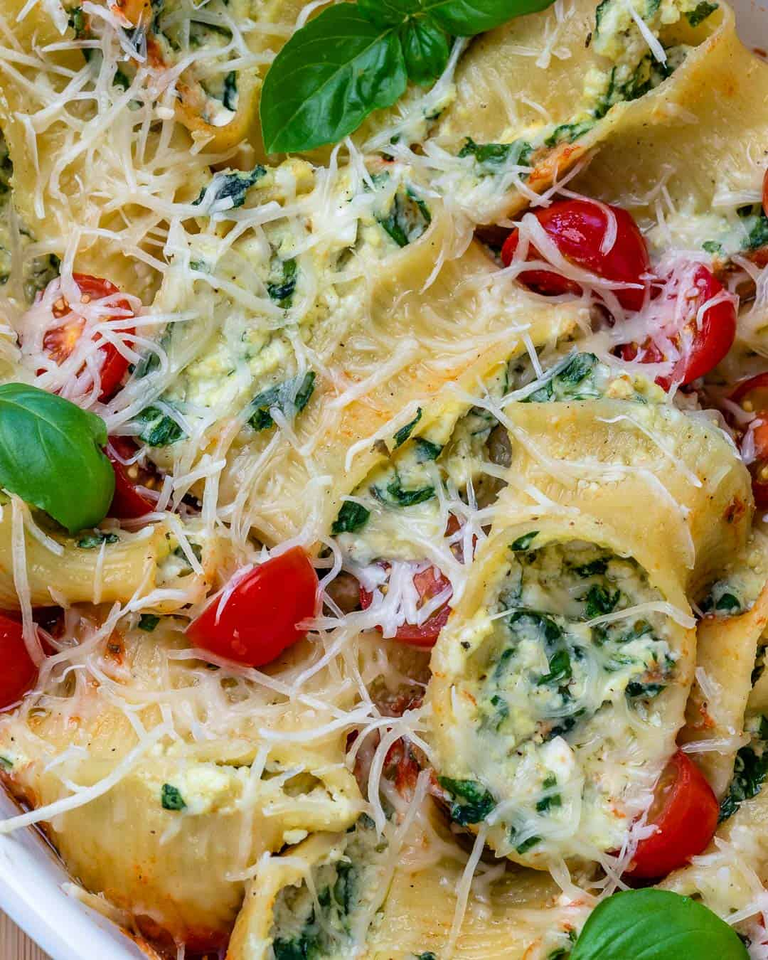 overhead of stuffed pasta
