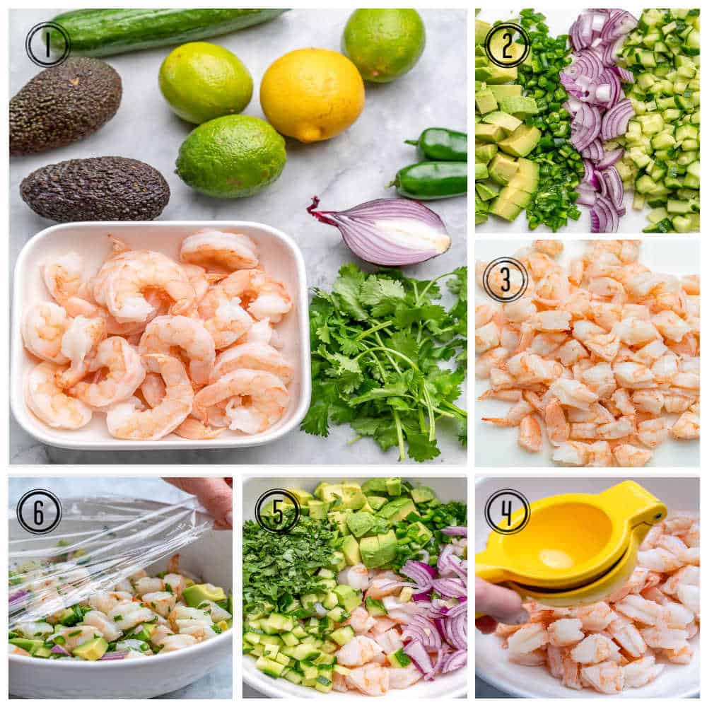 process shot of how to make shrimp ceviche