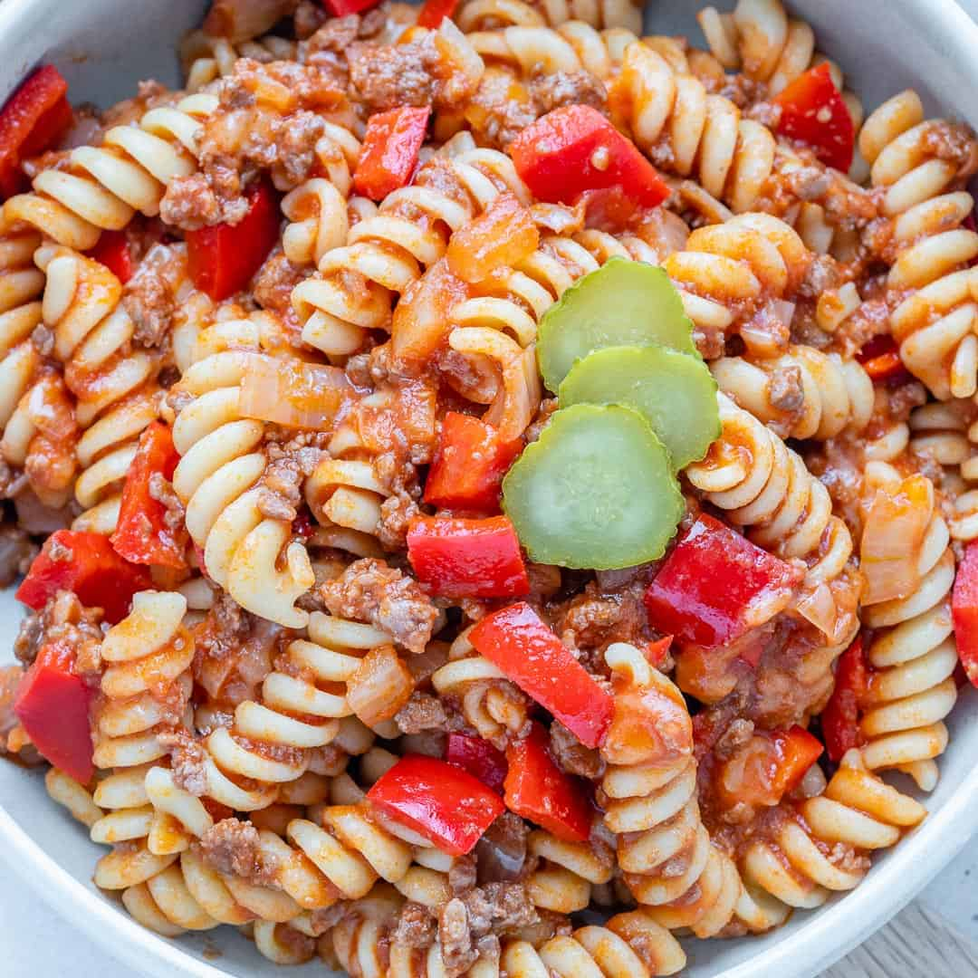 close up top view of beef pasta in a bowl