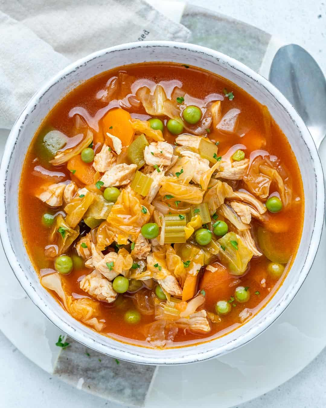 cabbage soup made with veggies and chicken