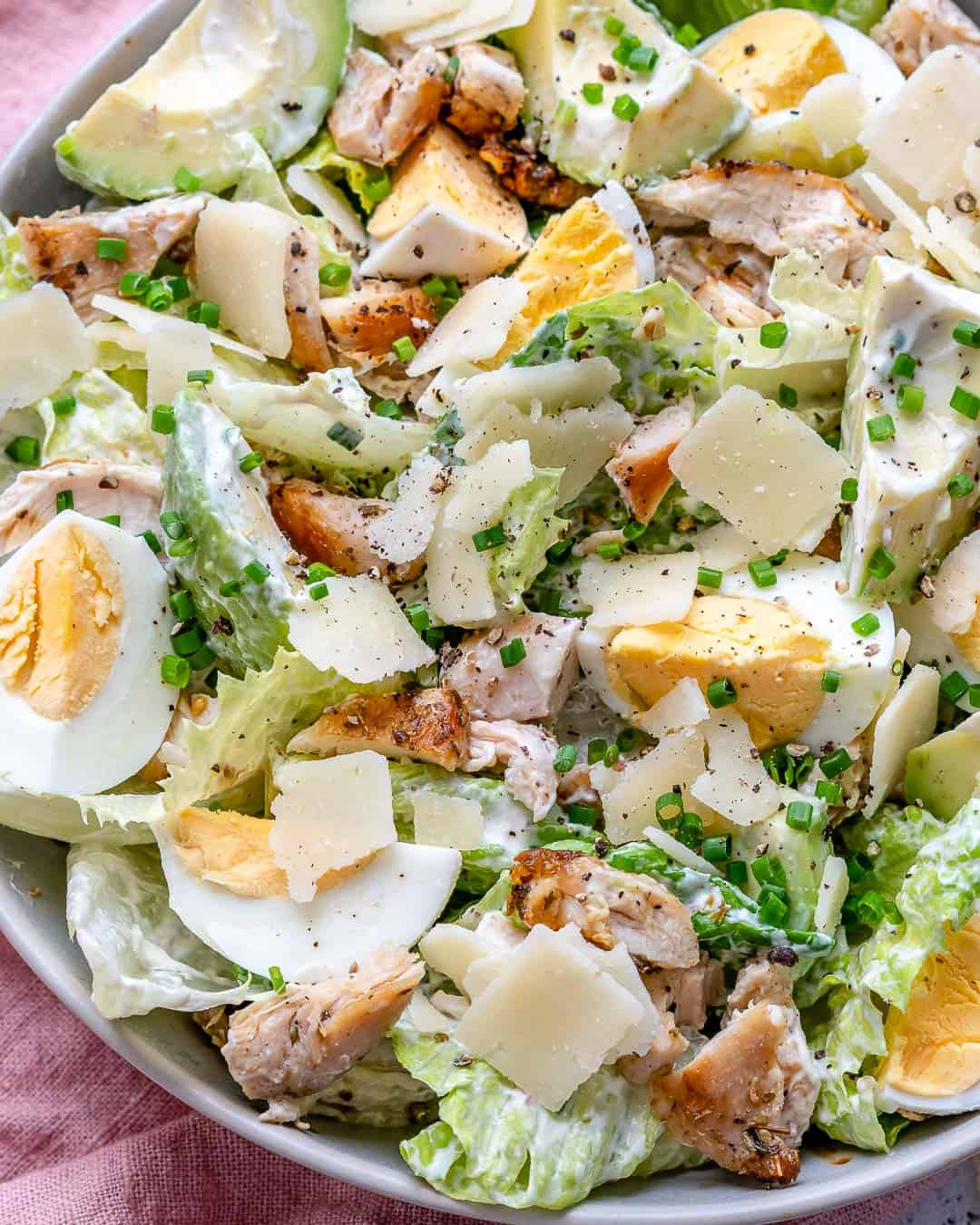 close up view of chicken salad in a bowl