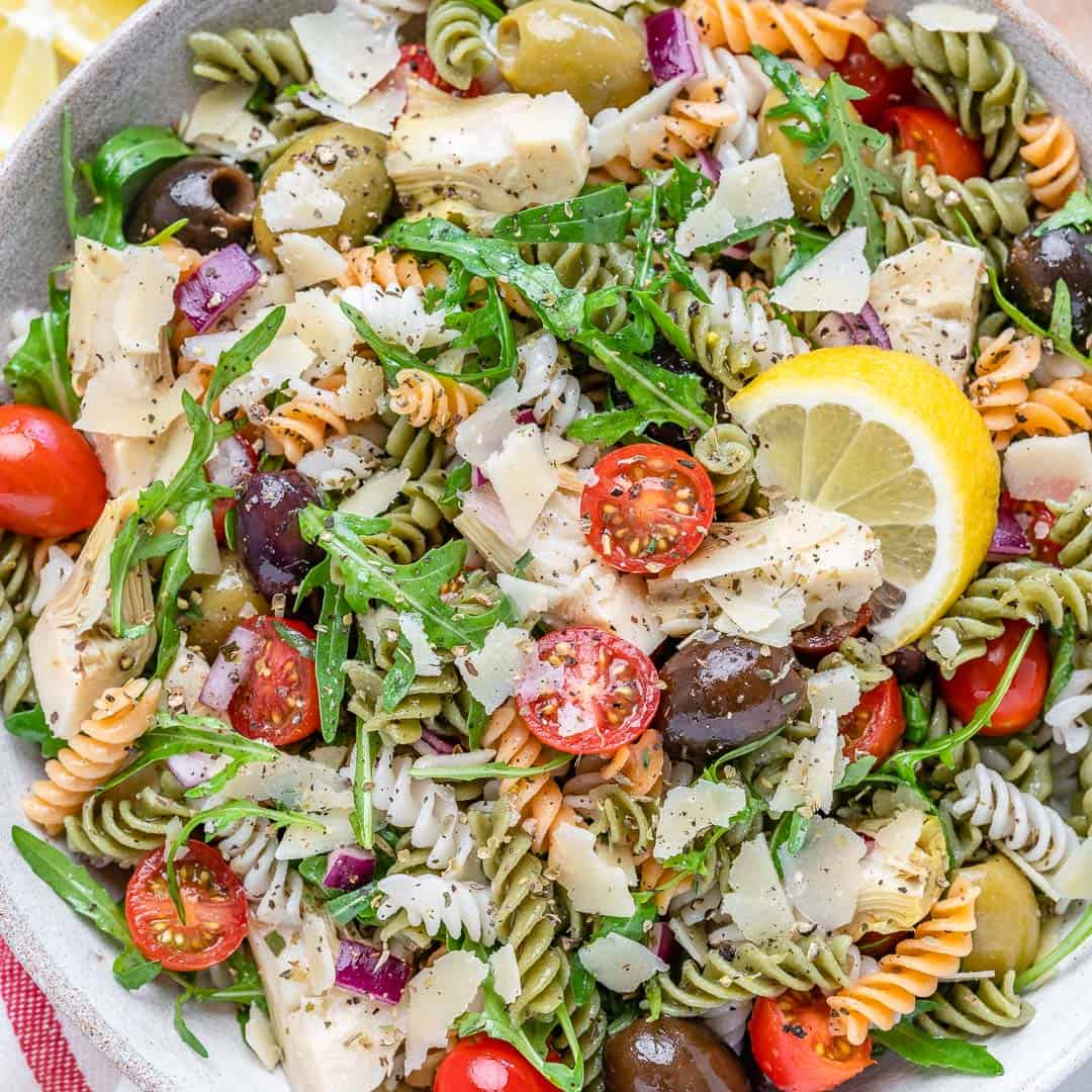 easy vegetarian pasta salad with olives arugula and artichoke