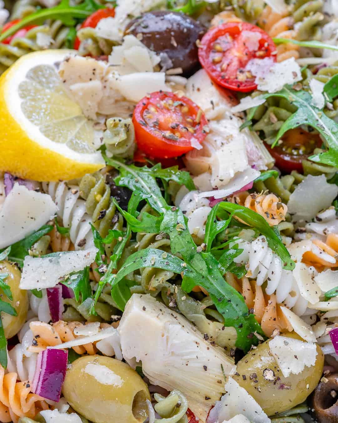 close up view of pasta salad