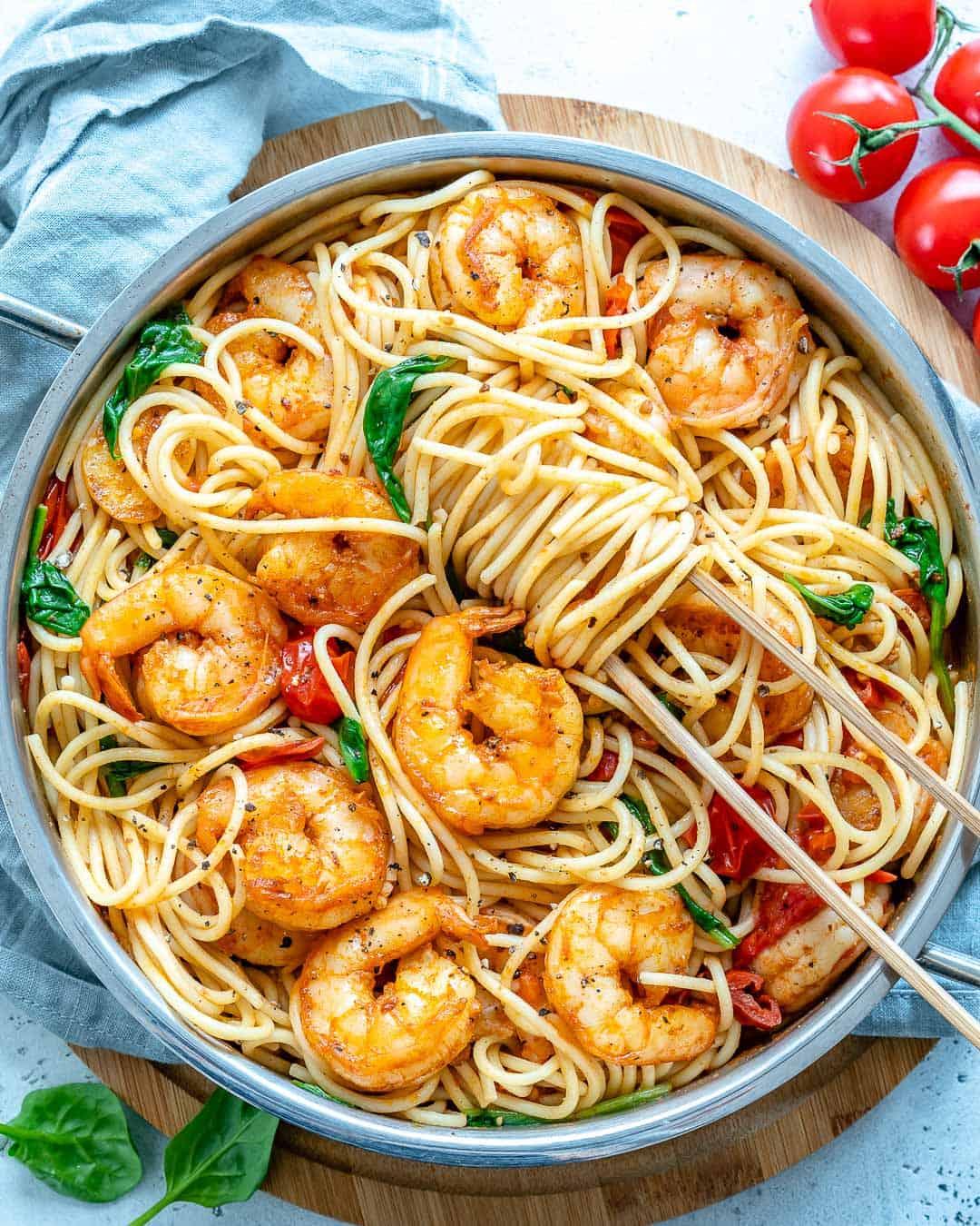 overhead shot of Shrimp Spaghetti
