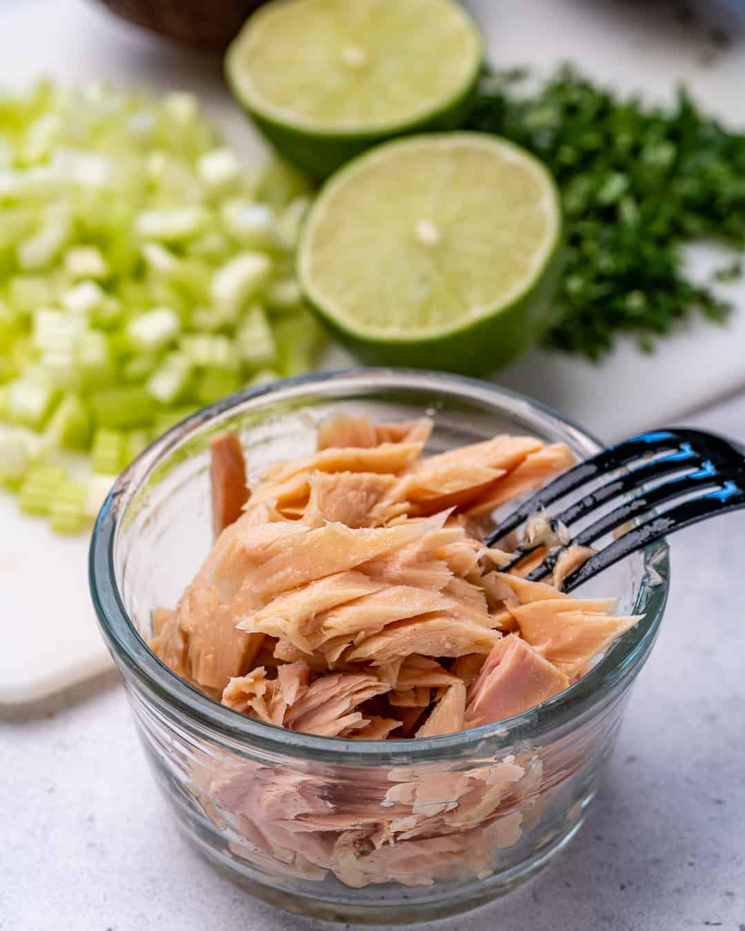 canned tuna in a bowl for the tuna salad