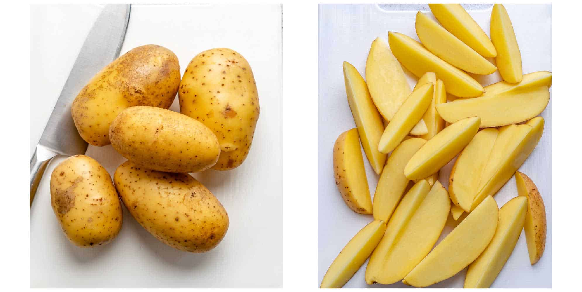 potato collage, whole potatoes on the left and cut up on the right