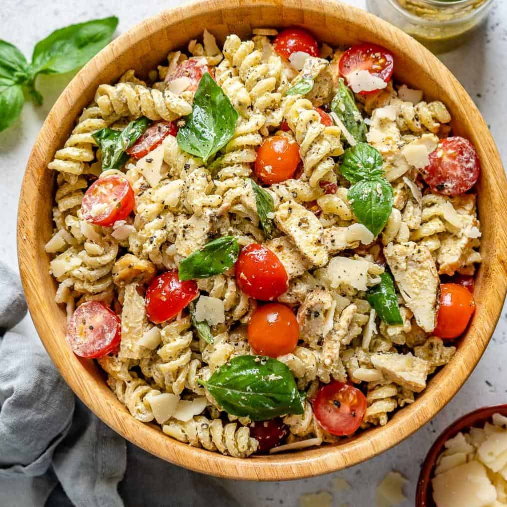 Creamy Chicken Pesto Pasta Salad Healthy Fitness Meals