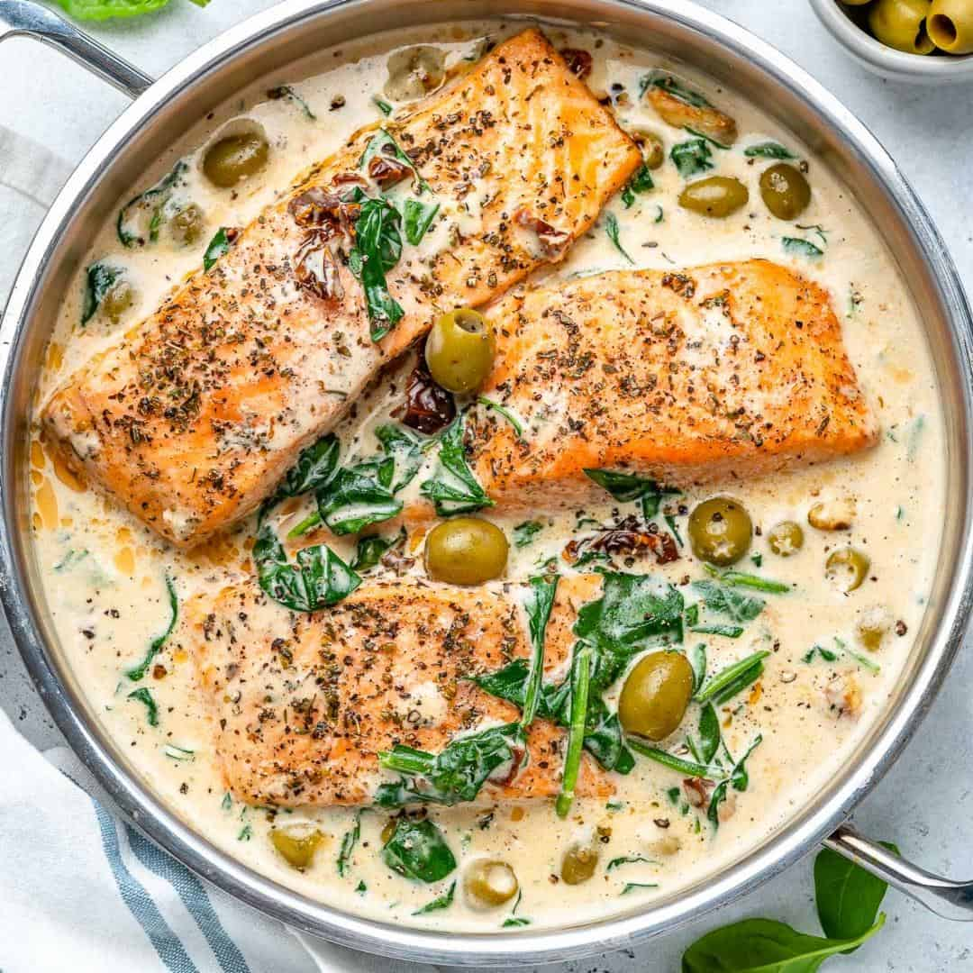 Creamy tuscan salmon in pan