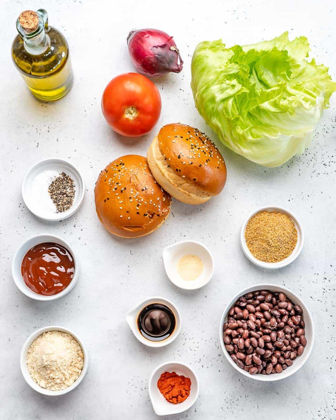 ingredients for Vegan Black Bean Burgers