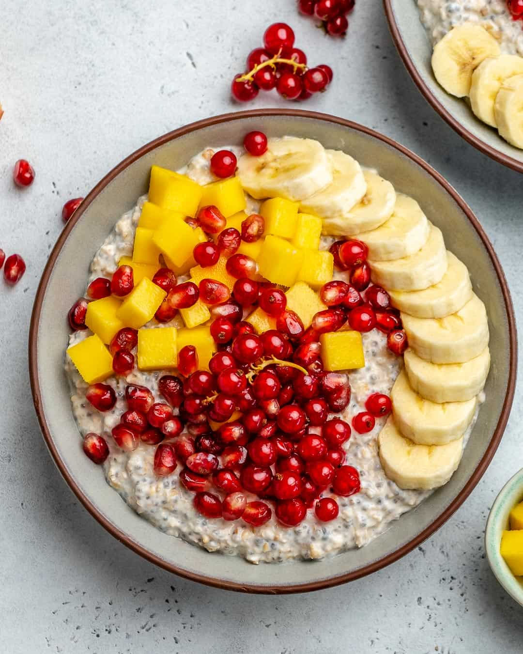 top view oatmeal bowl with fruit toppings