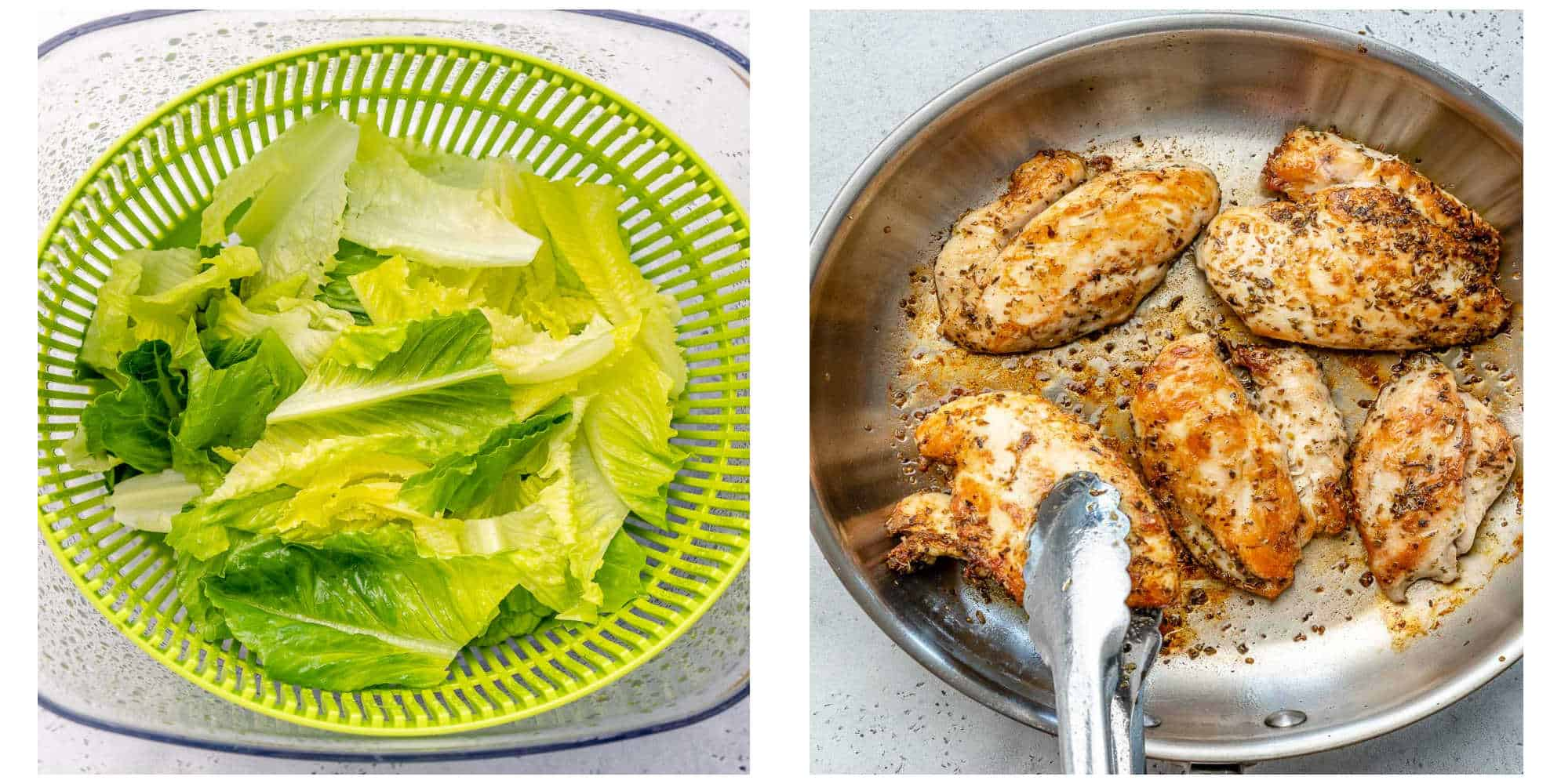 collage pic of lettuce on the left and pan grilled chicken breast