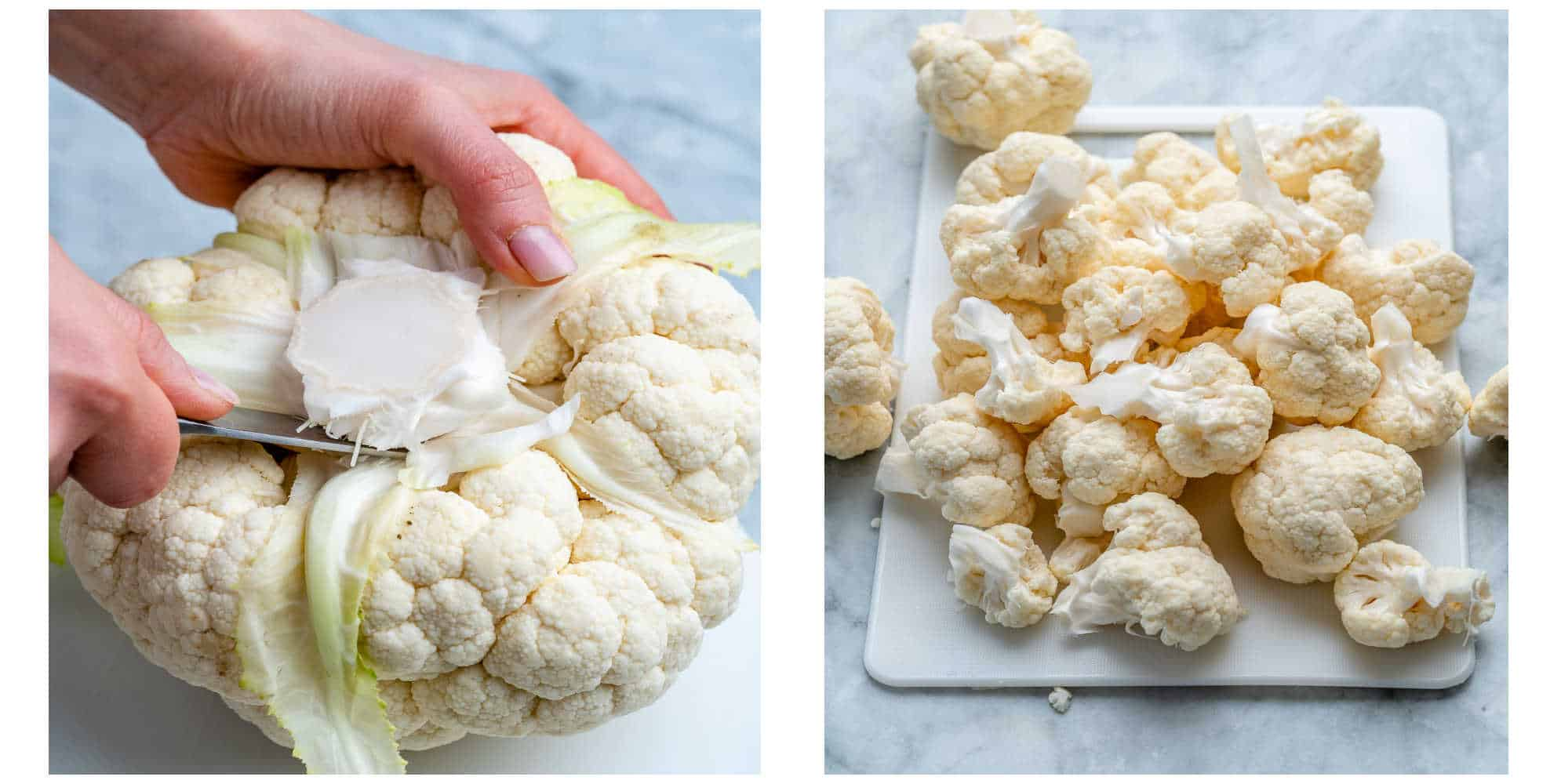 collage of whole cauliflower on the left and cut up cauliflower on the right