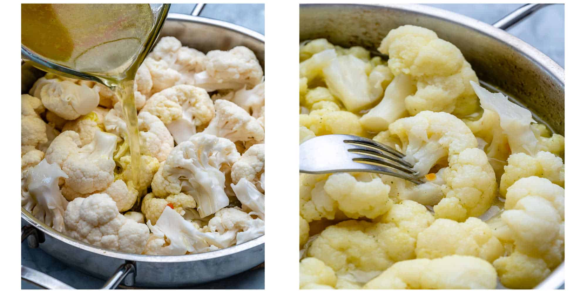 collage of broth being poured on cauliflower on left and cooked cauliflower on right