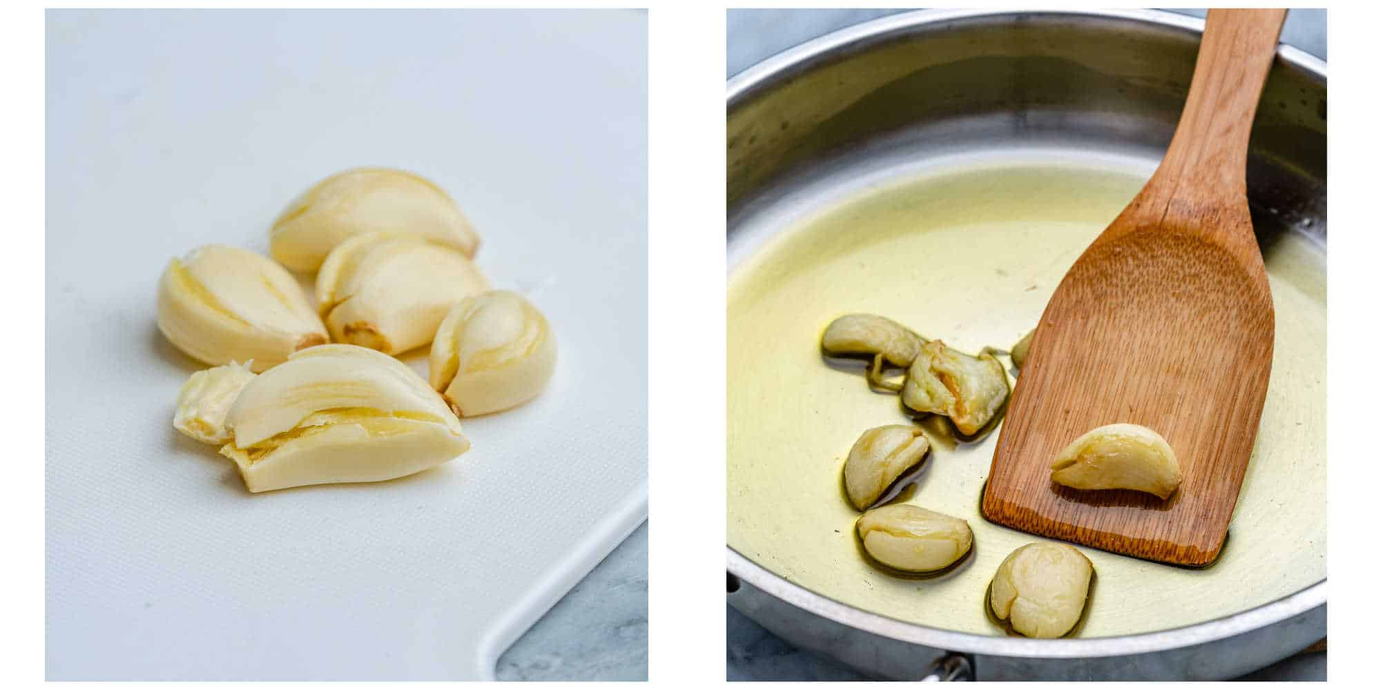collage of crushed garlic on left and cooked garlic in oil and skillet on the right