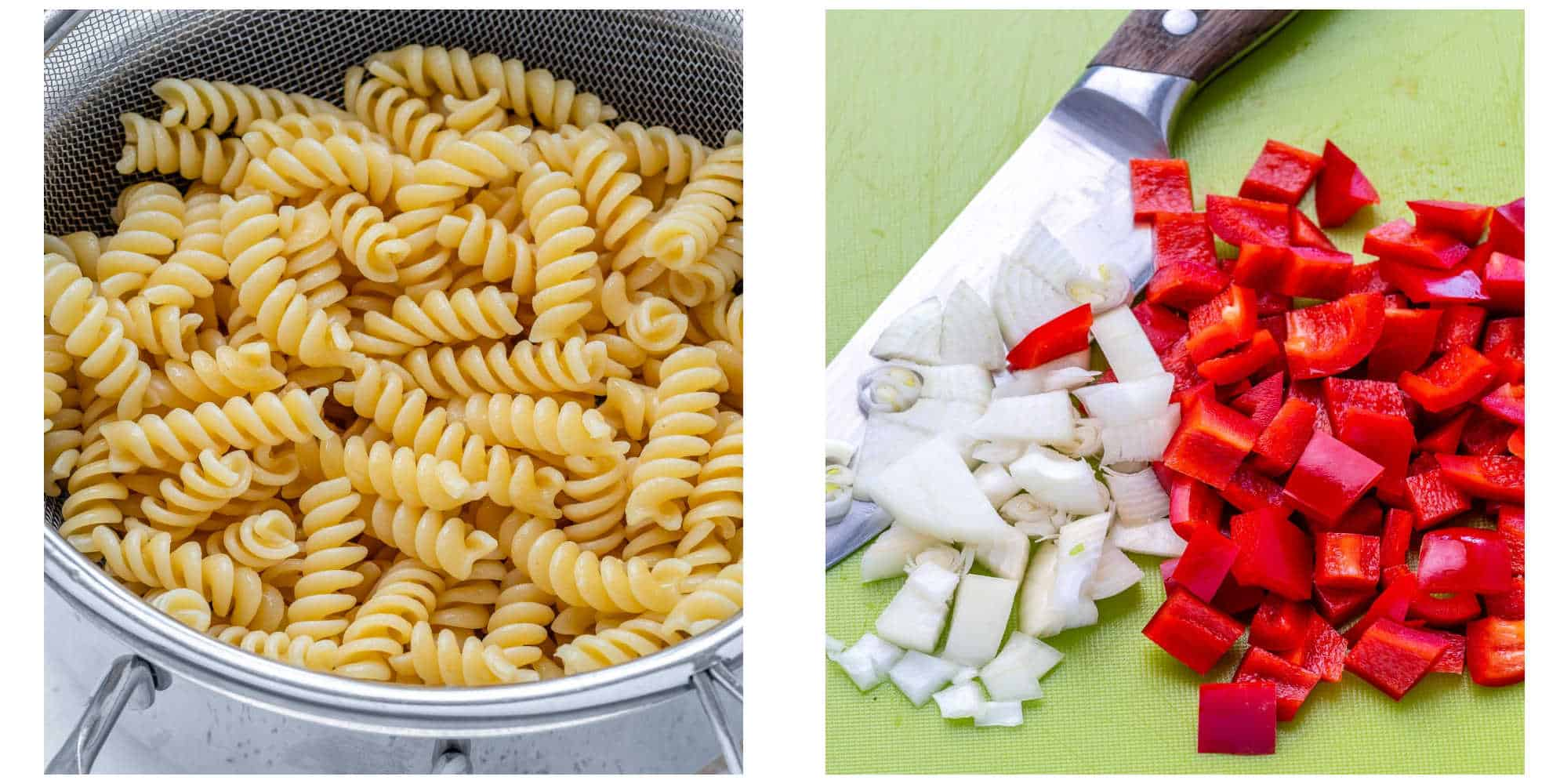 collage of boiled pasta on the left and chopped peppers and onions on the right