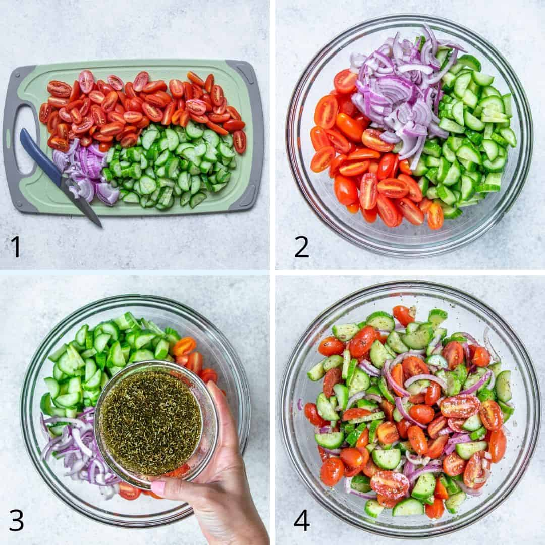 steps of how to make the cucumber salad collage