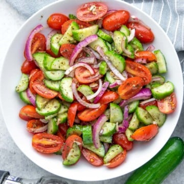 top view of tomato salad