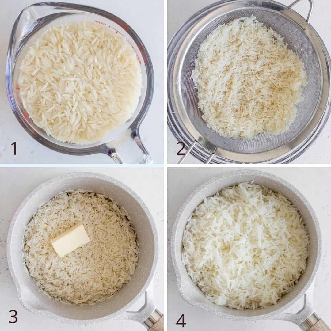 collage of stovetop process of how to cook rice