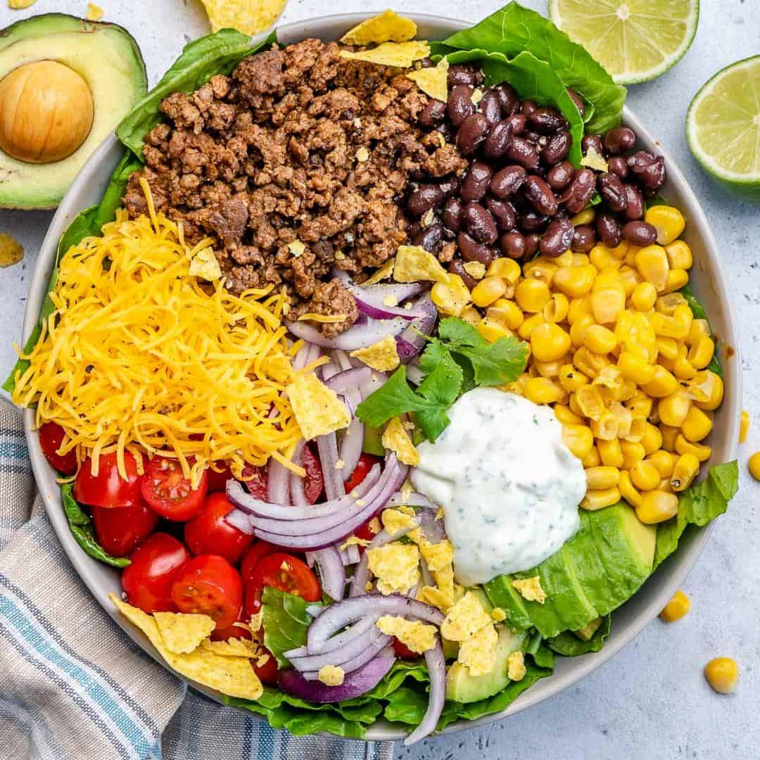 top view of taco salad in bowl