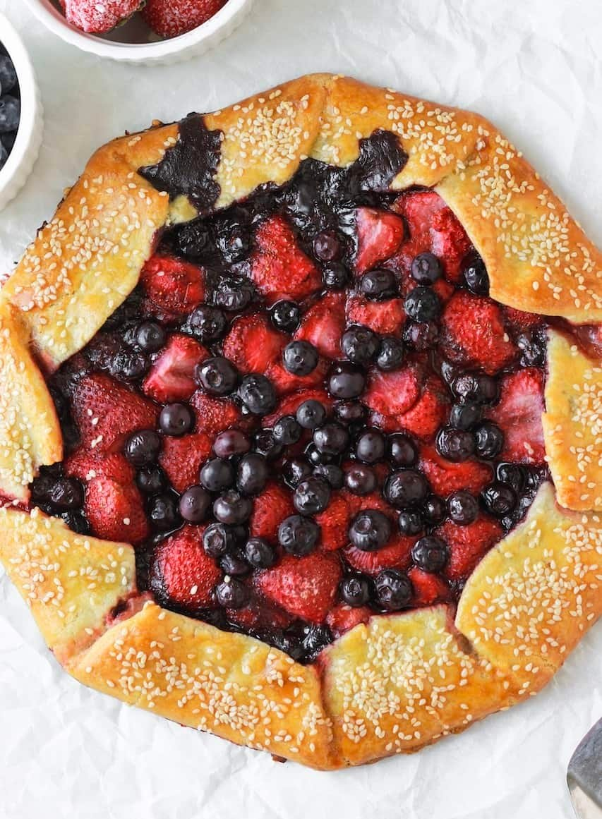 top view of baked berry galette