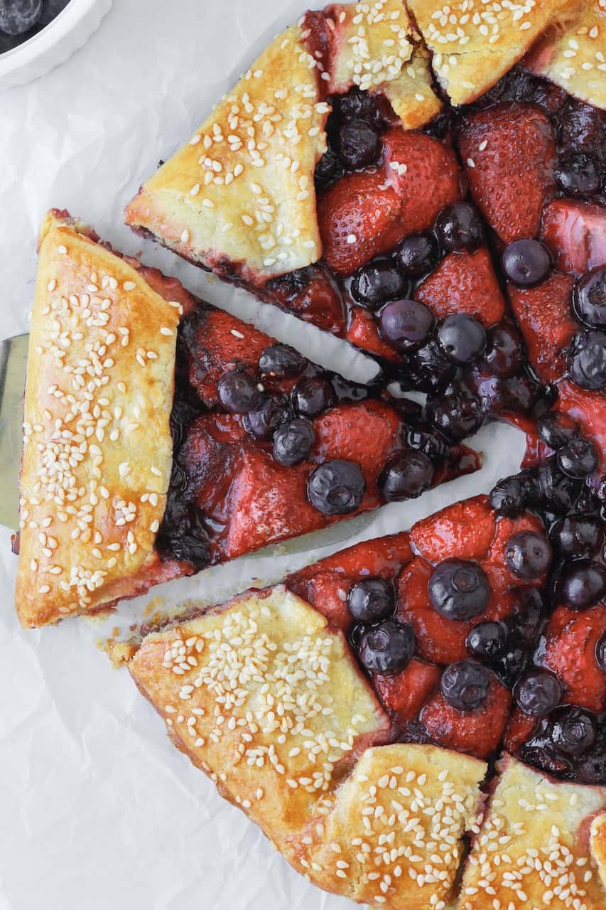 cut up berry galette top view