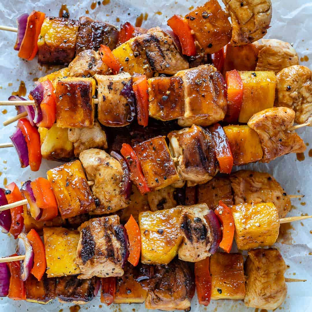 close up pineapple chicken kabobs