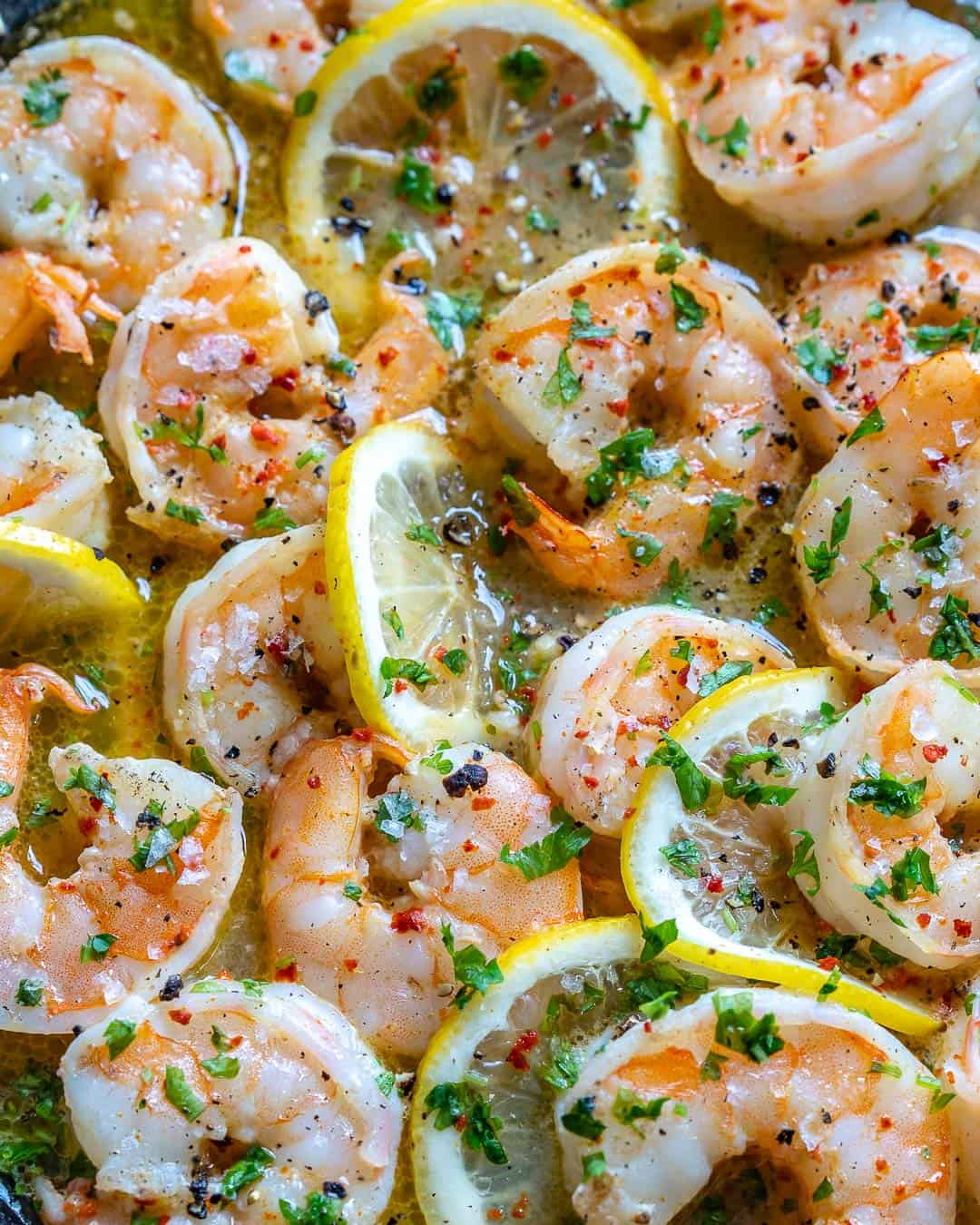 close up of shrimp skillet