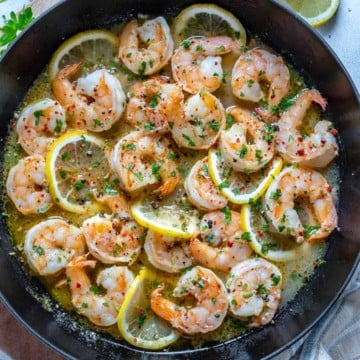 top view of shrimp in skillet