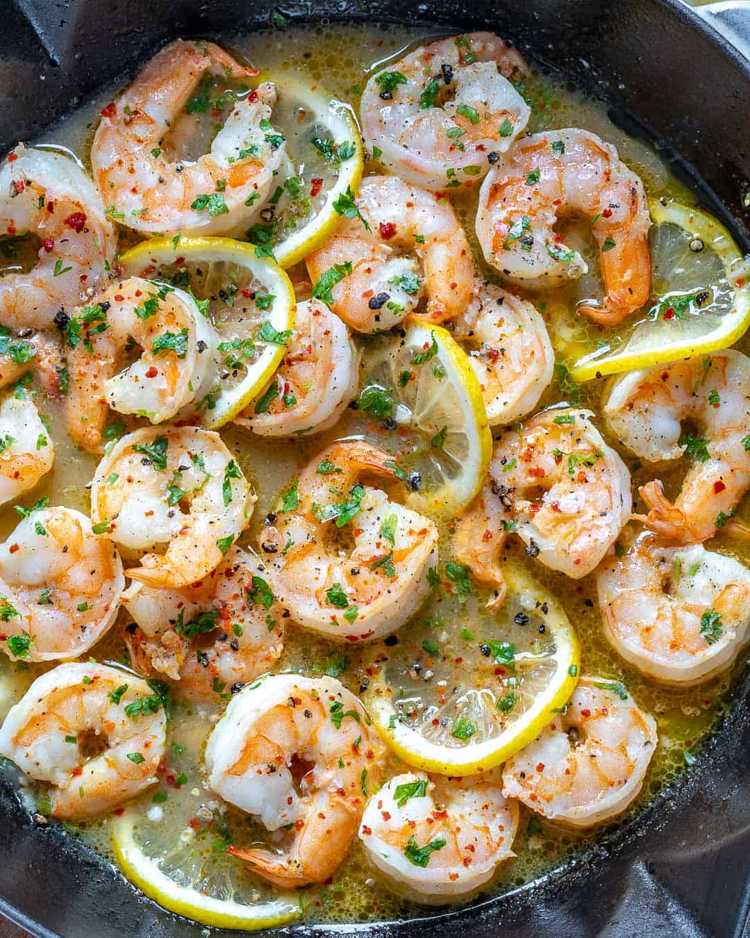 close up view of sautéed lemon shrimp