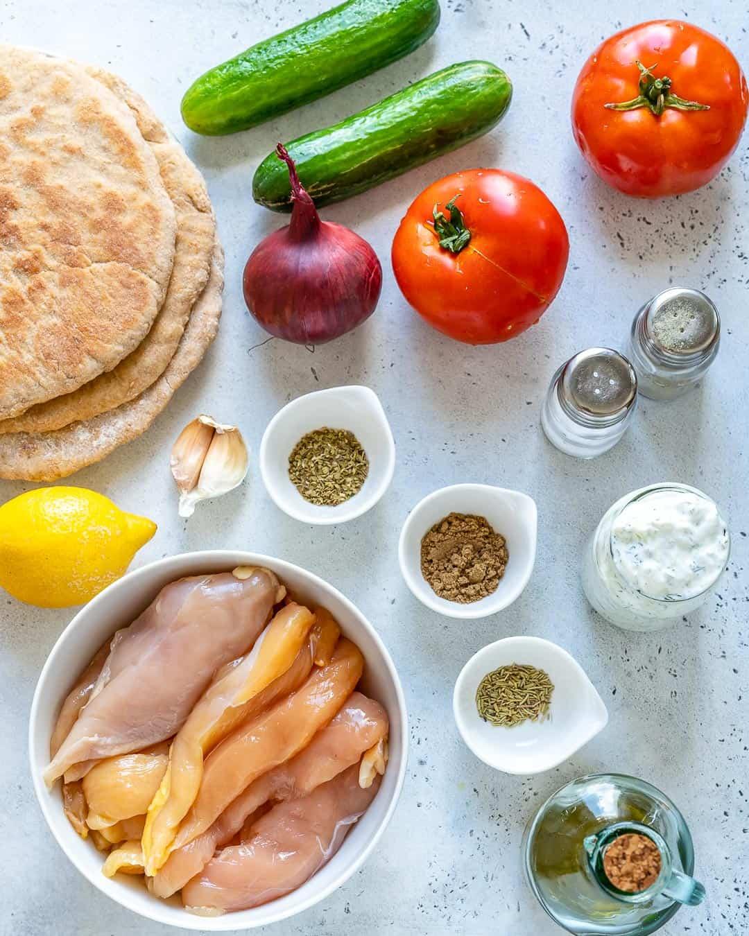 ingredients for Grilled Chicken Gyro Sandwich