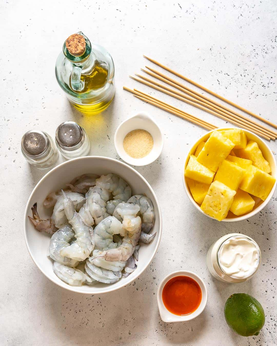 ingredients for Grilled Pineapple Shrimp Skewers