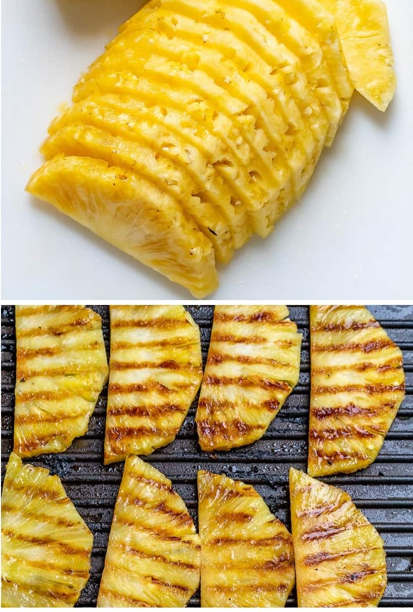 collage of fresh sliced pineapple on top and grilled pineapple on the bottom