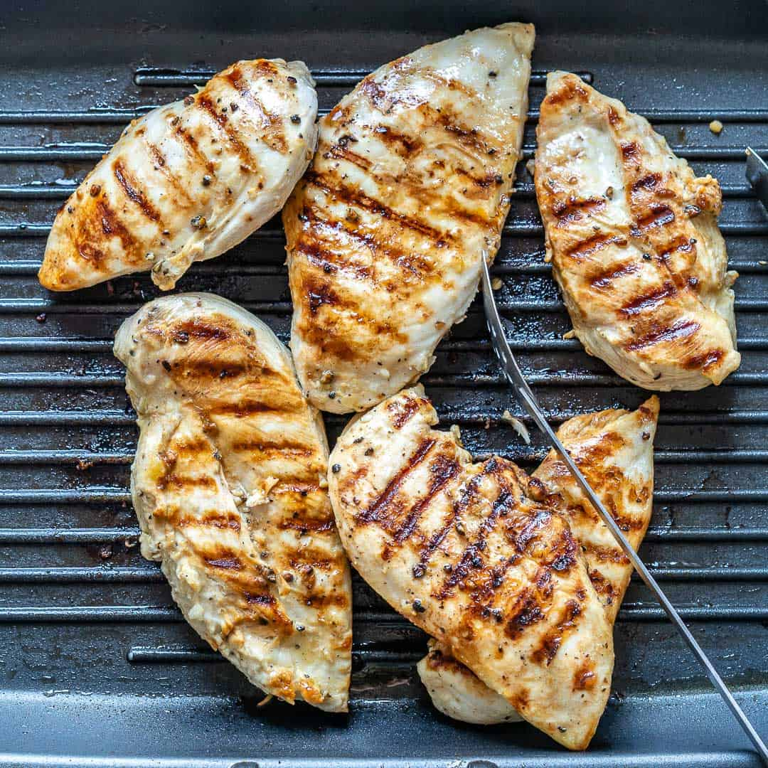 grilled chicken in pan
