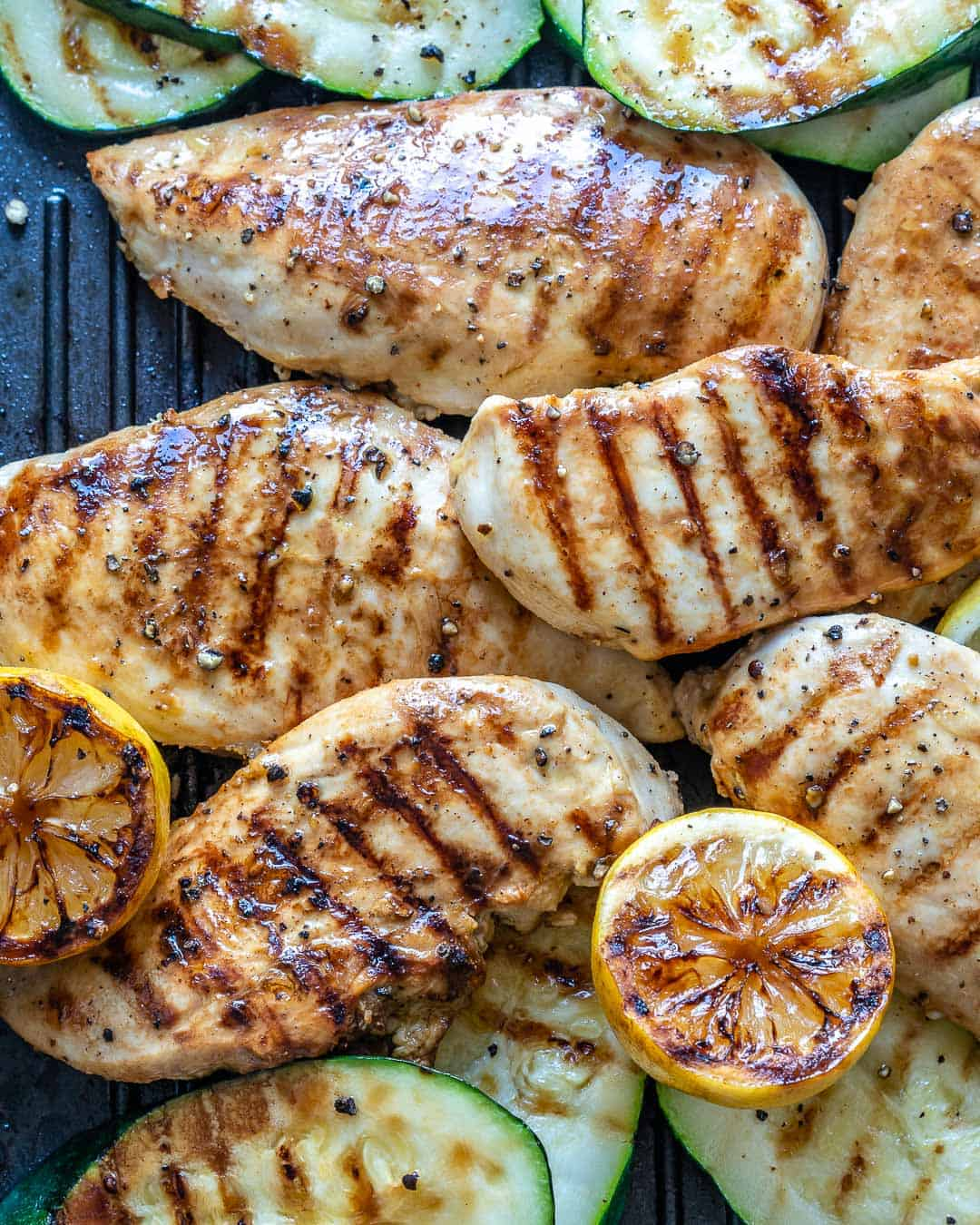 grilled chicken on pan
