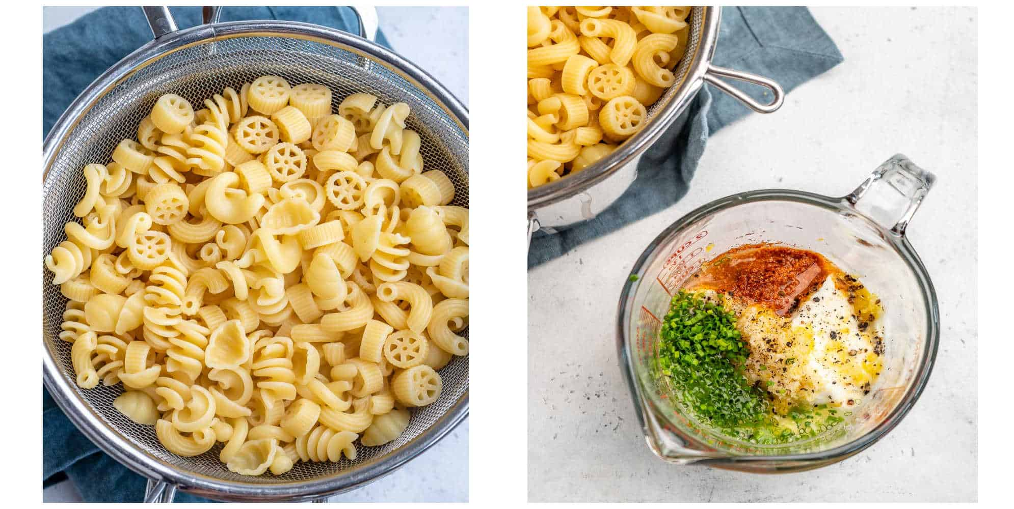 collage with cooked pasta in colander on left and dressing on right