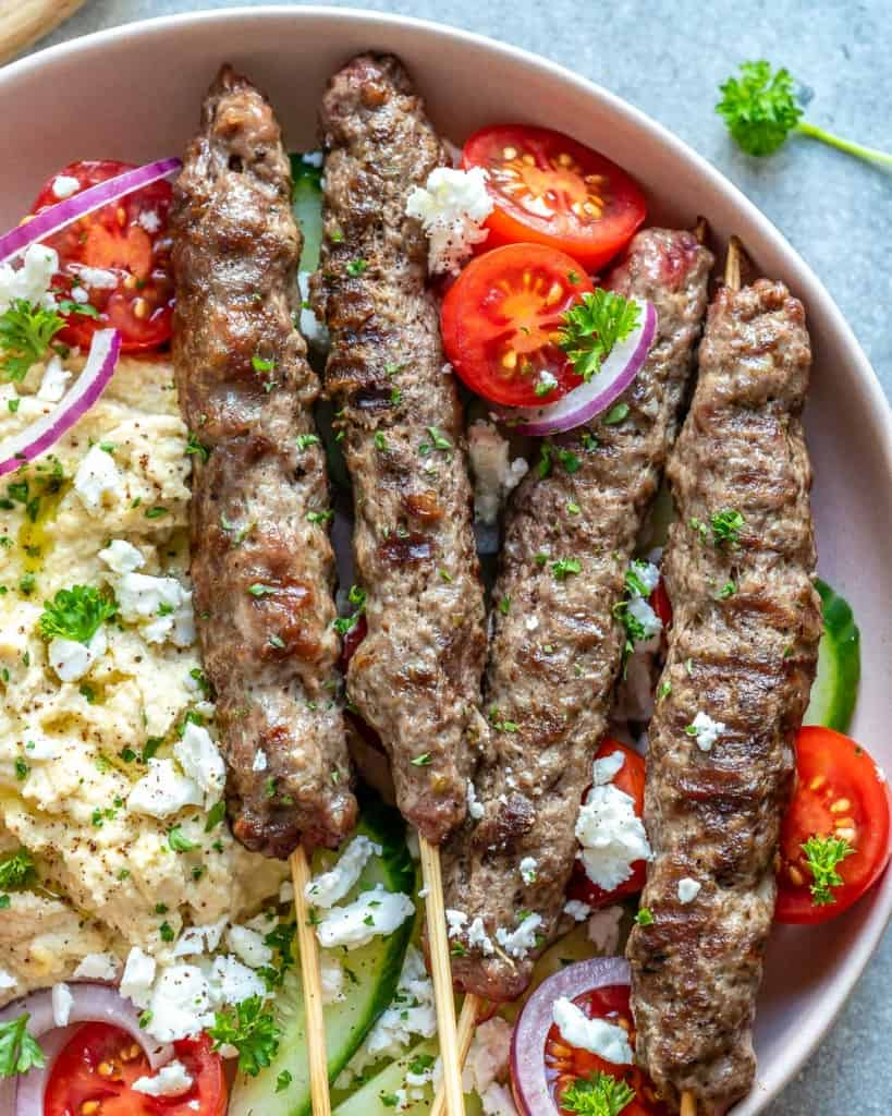 close up view of kafta skewers