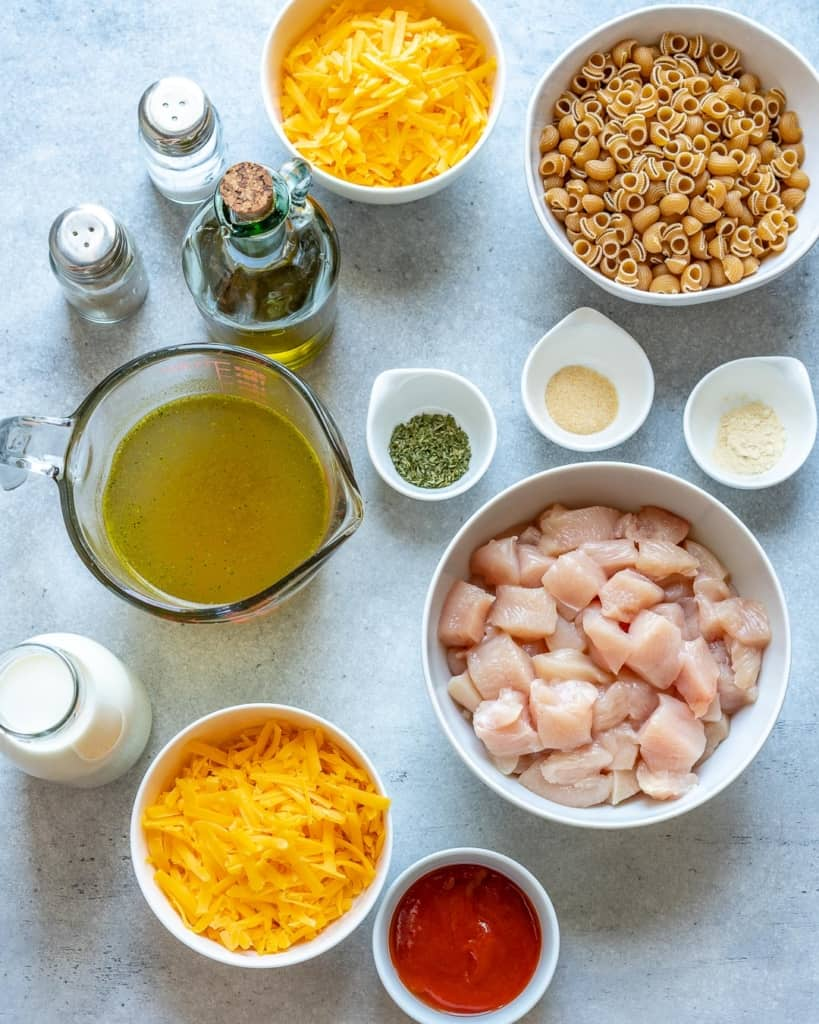 ingredients for buffalo mac and cheese
