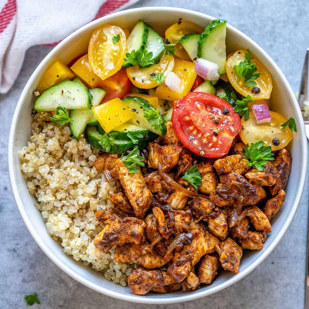 chicken bowl with salad and quinoa