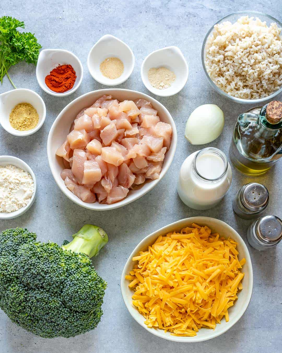 Ingredients for chicken & broccoli casserole on counter