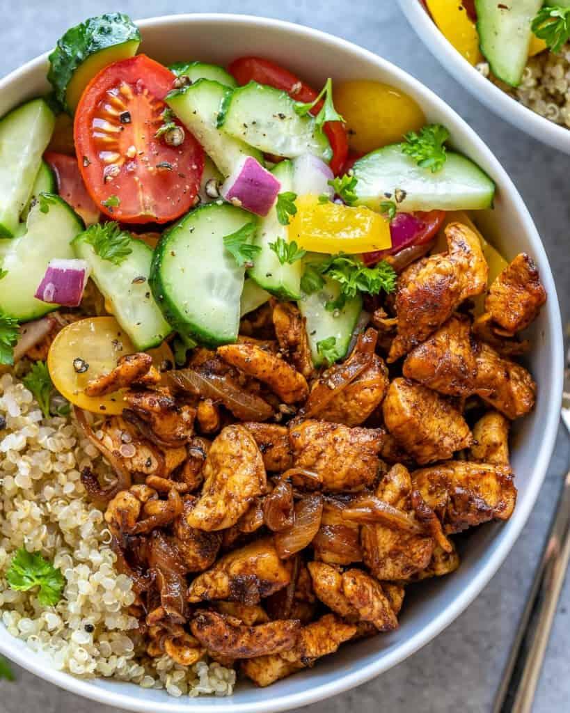 top view close up of chicken shawarma quinoa bowl