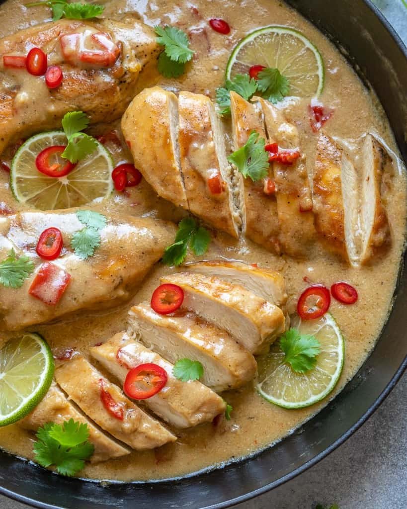 top view of sliced coconut chicken in pan