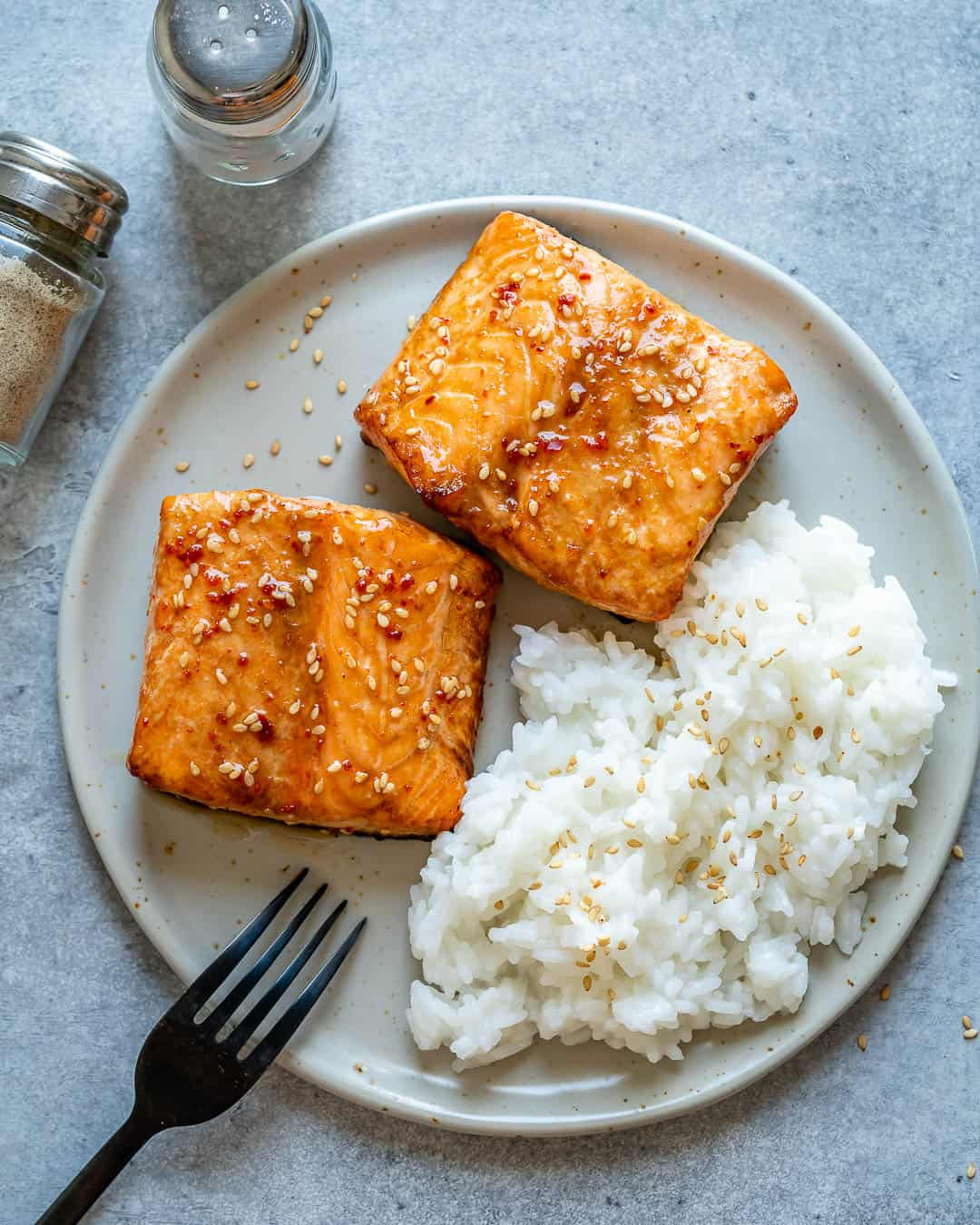 Honey Glazed Air Fryer Salmon with rice on a plate