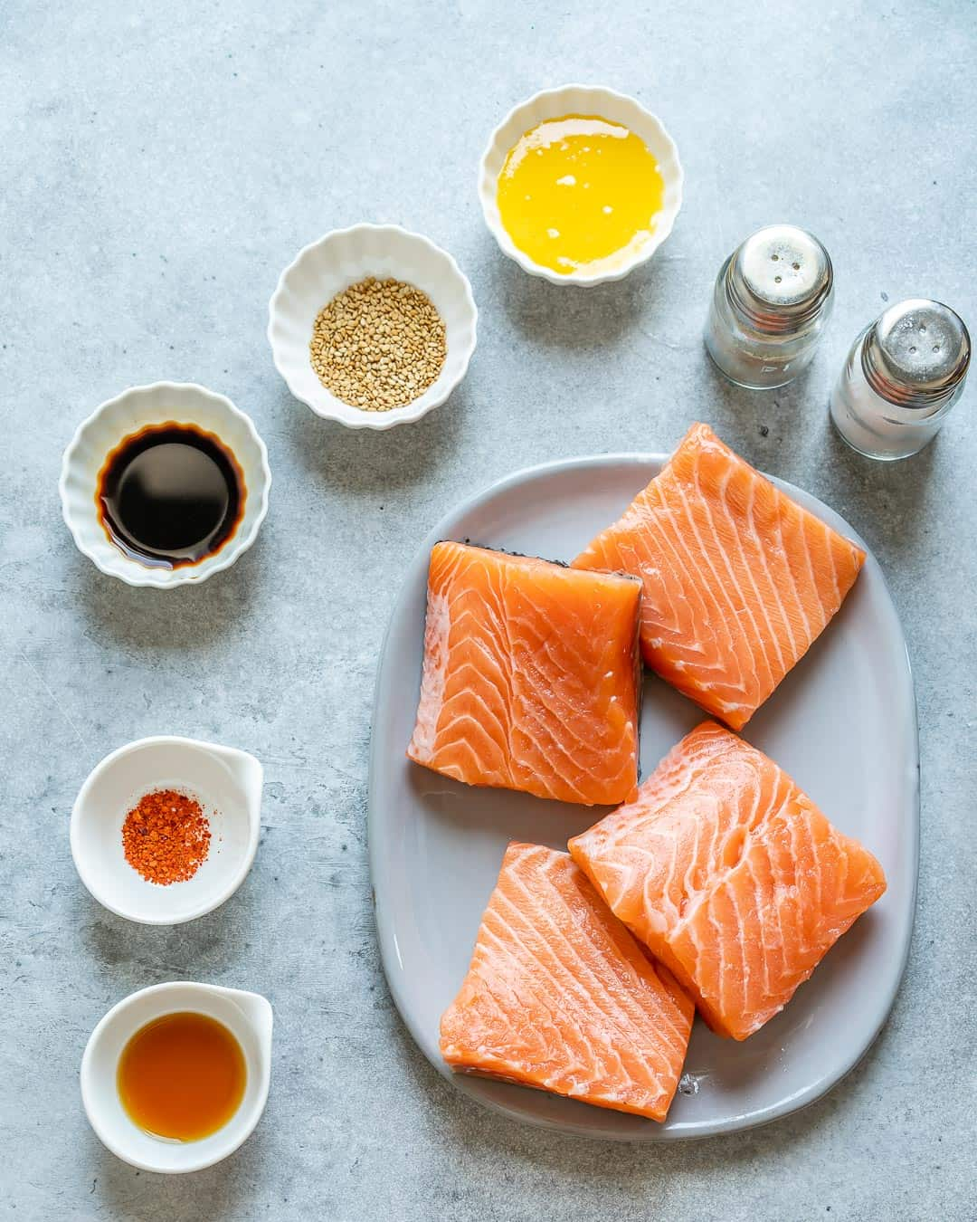 Ingredients for honey glazed air fryer salmon