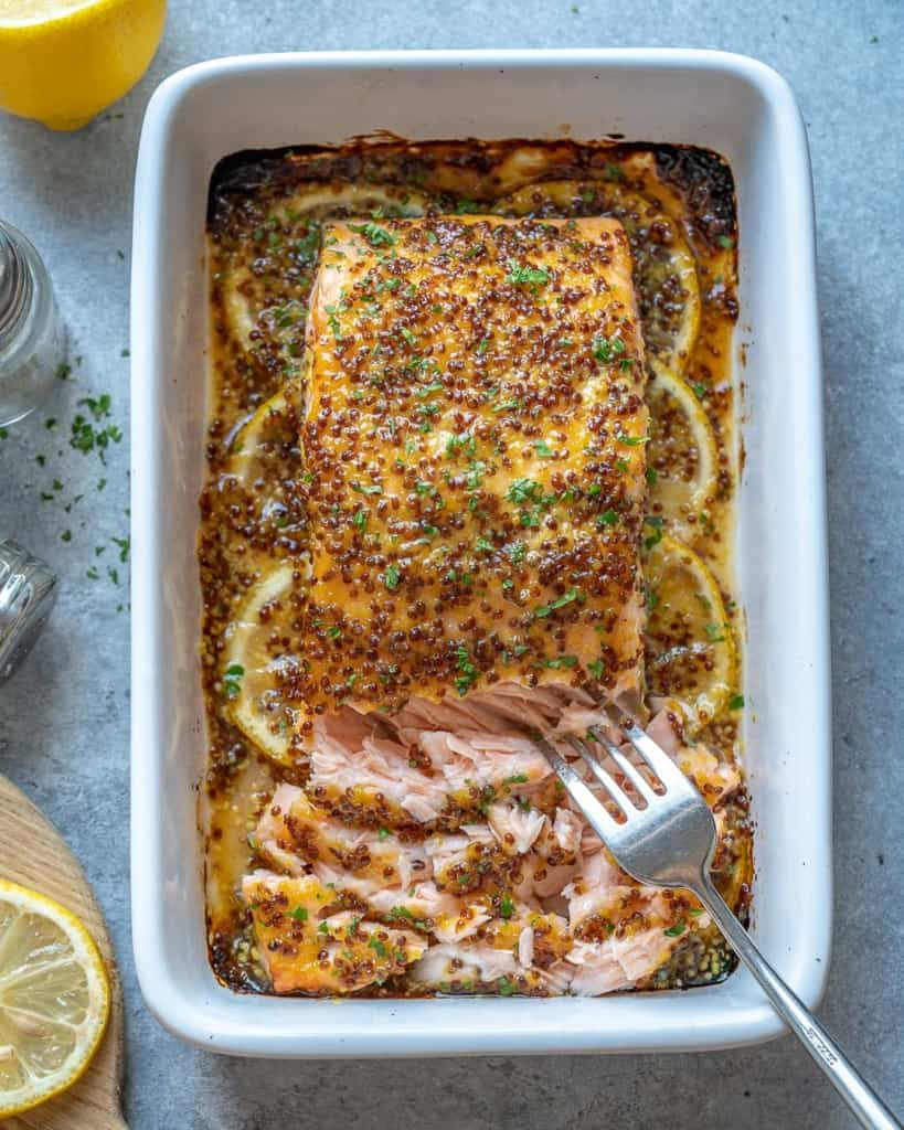 top view of flaked baked salmon